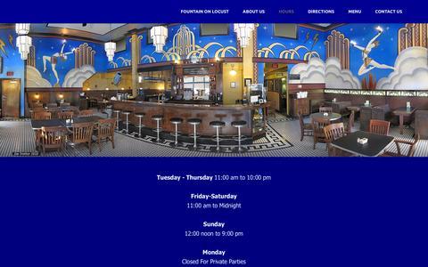 Screenshot of Hours Page fountainonlocust.com - Hours - captured Feb. 24, 2016