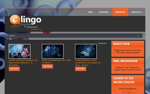 Screenshot of Press Page elingo.co.za - Newsroom - Elingo - captured Sept. 24, 2014