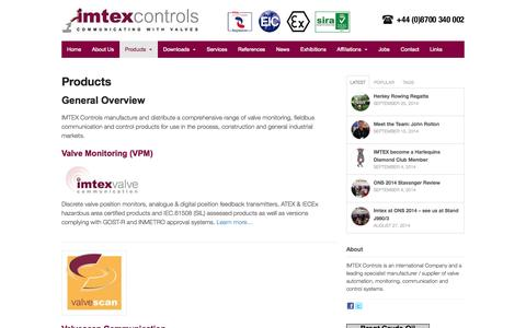 Screenshot of Products Page imtex-controls.com - Products - Imtex Controls - captured Oct. 4, 2014