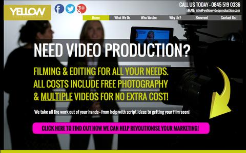 Screenshot of Home Page yellowvideoproduction.com - Home - Video Production Liverpool Manchester & Birmingham - captured Dec. 17, 2015