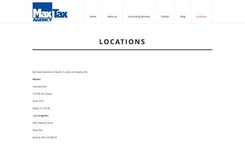 Screenshot of Locations Page maxtaxagency.com - Tax Office Miami | Tax Service Miami | Tax Accountant Miami | Tax Preparation Miami | Income Tax Miami | Miami Income Tax | Tax Return Miami | Miami Tax Preparation |Tax Return Preparation | Max Tax Agency - captured Jan. 9, 2016