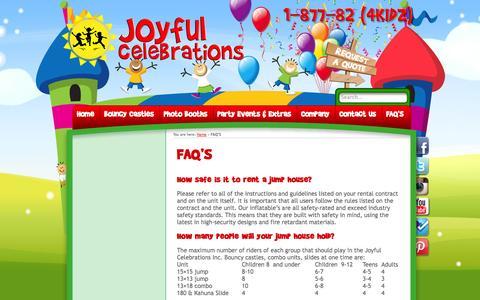 Screenshot of FAQ Page joyfulcelebrations.ca - FAQ'S - Bouncy Castle & Party Rentals - Joyful Celebrations - captured Oct. 6, 2014
