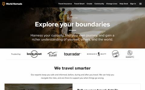 Screenshot of Home Page worldnomads.com - World Nomads - Explore Your Boundaries - captured June 7, 2018
