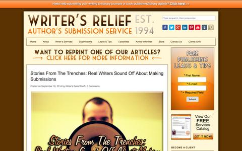 Screenshot of Blog writersrelief.com - Writer's Relief Blog | Authors Submission Service - Writer's Relief, Inc. - captured Sept. 19, 2014