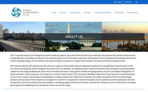 Screenshot of About Page globalenvironmentfund.com - About Us | Global Environment Fund (GEF) - captured July 19, 2018