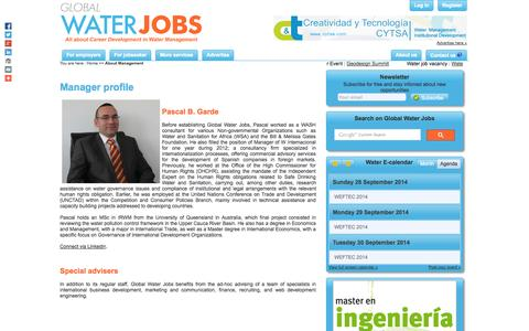 Screenshot of Team Page globalwaterjobs.com - About Management - Global Water Jobs - captured Sept. 30, 2014