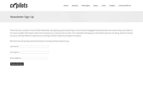 Screenshot of Signup Page cxpilots.com - CXpilots |   Newsletter Sign Up - captured June 29, 2017