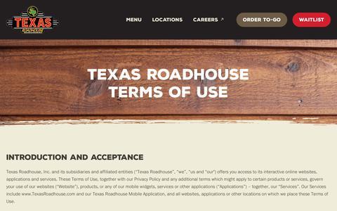 Screenshot of Terms Page texasroadhouse.com - Terms of Use   Terms and Conditions   Texas Roadhouse - captured Jan. 2, 2020