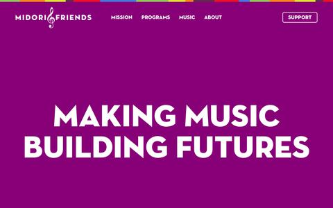 Screenshot of Home Page midoriandfriends.org - Midori – Inspiring Children through Music - captured Oct. 18, 2018