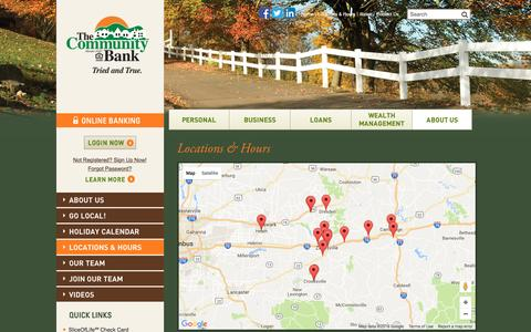 Screenshot of Locations Page thecombank.com - Locations & Hours | The Community Bank | Zanesville, OH - Cambridge, OH - New Concord, OH - Crooksville, OH - captured Sept. 29, 2016