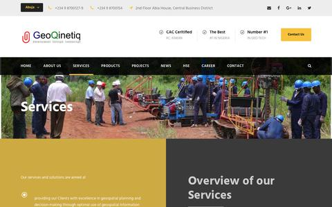 Screenshot of Services Page geoqinetiq.com - Services – GeoQinetiq - captured Dec. 8, 2018