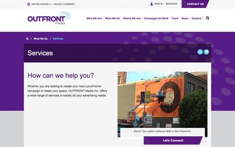 Screenshot of Services Page outfrontmedia.com - Outdoor Advertising Services   CBS Outdoor is now OUTFRONT Media - captured Dec. 4, 2015