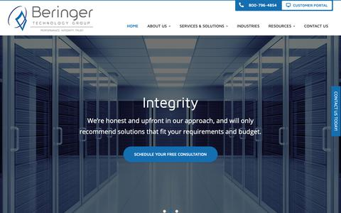 Screenshot of Home Page beringer.net - Business IT Solutions, Office 365, Dynamics 365, IT Support, Managed IT Services - NJ, PA, DE, MD, FL | Beringer Technology Group - captured Oct. 5, 2018