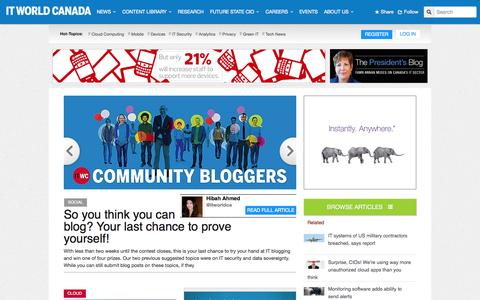 Screenshot of Home Page itworldcanada.com - Tech News, Product Reviews & Interviews by IT World Canada - captured Sept. 22, 2014
