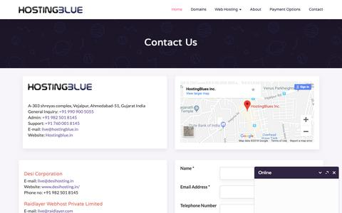 Screenshot of Contact Page hostingblue.in - India's Most Prefered Web Hosting Company - Hosting BLUE - captured Sept. 29, 2018