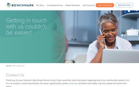 Screenshot of Contact Page benchmarkseniorliving.com - Let's Connect | Benchmark Senior Living - captured Nov. 6, 2018