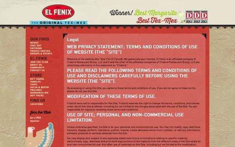 Screenshot of Terms Page elfenix.com - Legal | ElFenix - captured Oct. 2, 2014
