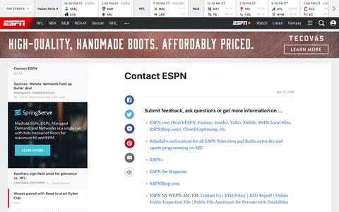 Screenshot of Contact Page espn.com - Tiger Woods paired with Patrick Reed to start Ryder Cup - captured Sept. 27, 2018