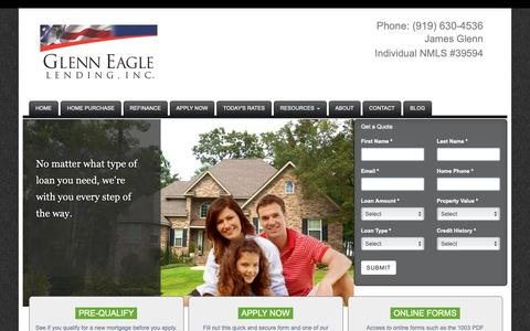 Screenshot of Home Page glenneagle.com - Glenn Eagle Lending - captured Nov. 10, 2018