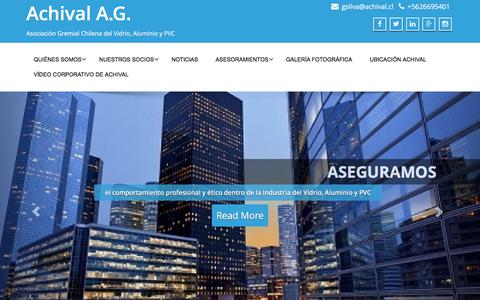 Screenshot of Home Page achival.cl - Achival A.G. – Asociación Gremial Chilena del Vidrio, Aluminio y PVC - captured April 22, 2016