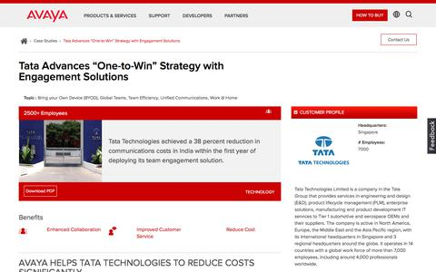 Screenshot of Case Studies Page avaya.com - Tata Technologies – Avaya Case Study - captured May 3, 2018