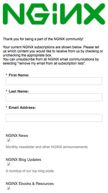NGINX Email Subscription Center