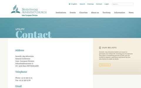 Screenshot of Contact Page adventist.org - Contact: The Official Site of the Seventh-day Adventist Inter-European Division - captured July 4, 2018