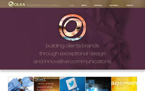 Screenshot of Home Page oleaco.ca - Olea: Integrated Brand Communications - captured Jan. 28, 2015