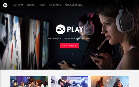 Screenshot of Home Page ea.com - Electronic Arts Official Home Page - captured June 9, 2016