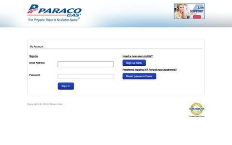 Screenshot of Login Page paracogas.com - Paraco Gas | My Account - captured Oct. 1, 2014