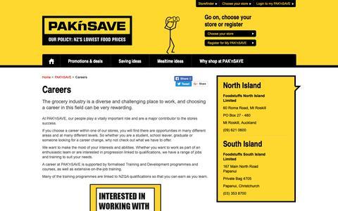 Screenshot of Jobs Page paknsave.co.nz - Careers at PAK'nSAVE | PAK'nSAVE - captured Nov. 3, 2018