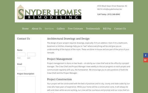 Screenshot of Services Page snyderhomes.biz - Services | Snyder Homes - captured Dec. 17, 2016