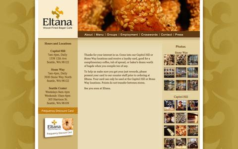 Screenshot of Signup Page eltana.com - Frequency Card  |  Eltana | Wood-Fired Bagel Cafe | Seattle, WA - captured Sept. 30, 2014