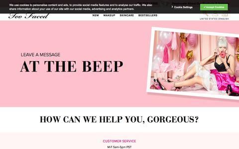 Screenshot of Contact Page toofaced.com - Contact Us | TooFaced - captured Sept. 16, 2019