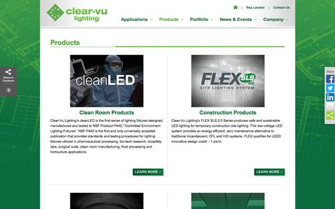 Screenshot of Products Page clearvulighting.com - Clear-Vu Lighting | Providing LED Lighting: Construction, Industrial, Portable, Retrofit - captured July 13, 2016