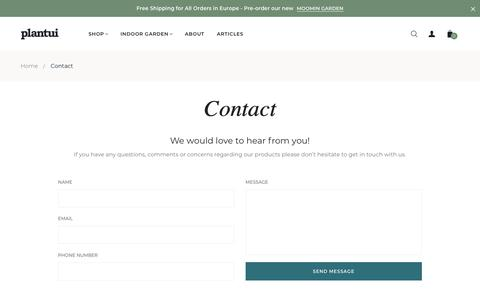 Screenshot of Contact Page plantui.com - Contact - captured Nov. 6, 2019