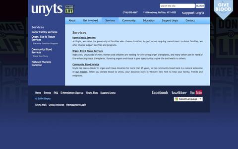 Screenshot of Services Page unyts.org - Services > Unyts - captured Oct. 9, 2014