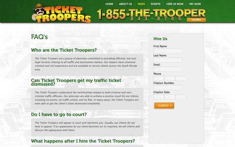 Screenshot of FAQ Page tickettroopers.com - Ticket Troopers   Florida Traffic Ticket Attorney in Miami Dade, Broward County - captured Oct. 6, 2014