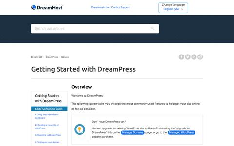 Screenshot of Support Page dreamhost.com - Getting Started with DreamPress – DreamHost - captured Feb. 21, 2020