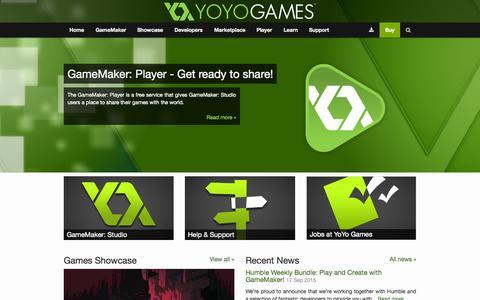 Screenshot of Home Page yoyogames.com - Welcome to YoYo Games | YoYo Games - captured Oct. 5, 2015