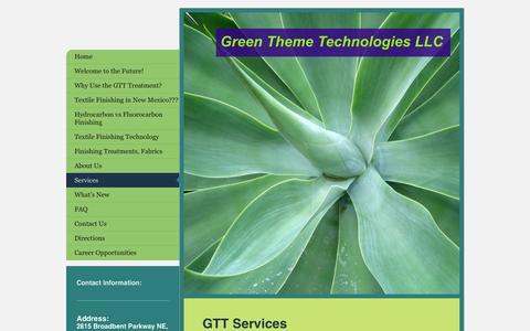 Screenshot of Services Page greenthemetek.com - Evergreen environmentally-friendly finishing of textiles - captured Oct. 3, 2014