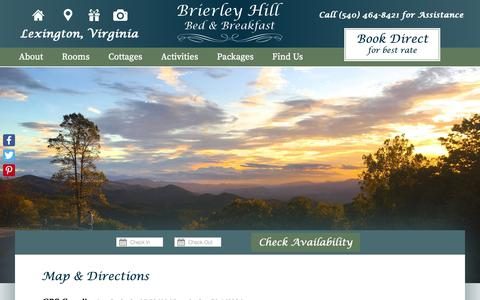 Screenshot of Contact Page Maps & Directions Page brierleyhill.com - Vacation Lodging at Lexington VA Bed and Breakfast near Natural Bridge - captured Oct. 31, 2018