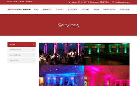 Screenshot of Services Page premierentertainmentatlanta.com - Services – Premier Entertainment - captured Nov. 1, 2018