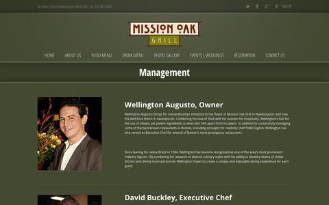 Screenshot of Team Page missionoakgrill.com - Management › Mission Oak Grill ‹ 26 Green Street Newburyport MA 01950 – ph: 978.463.9009 - captured Oct. 7, 2014