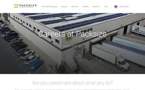 Screenshot of Jobs Page packsize.com - Careers - Packsize® - captured Oct. 2, 2018