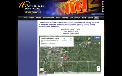 Screenshot of Maps & Directions Page hoosierpark.com - Info : Hoosier Park - captured Dec. 12, 2015