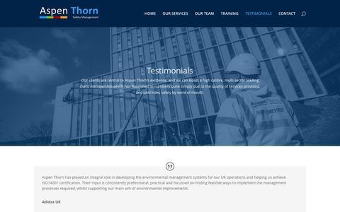 Screenshot of Testimonials Page aspenthorn.com - Testimonials   Aspen Thorn - captured Nov. 21, 2016