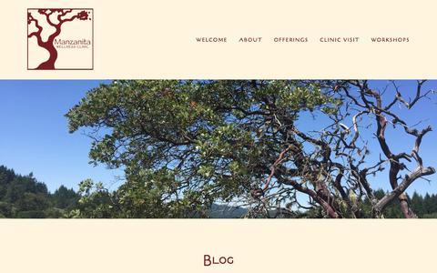 Screenshot of Blog manzanitawellness.com - Blog — Manzanita Wellness - captured Oct. 5, 2017