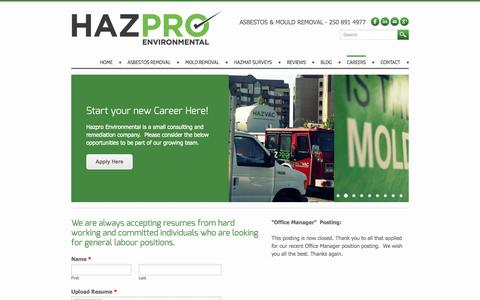 Screenshot of Jobs Page weebly.com - Careers - Asbestos Removal Victoria BC | Mould Testing | HAZPRO - captured Sept. 17, 2014