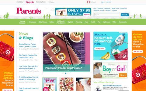 Screenshot of Home Page parents.com - Parents - Pregnancy, Birth, Babies, Parenting - Parents.com - captured Sept. 18, 2014